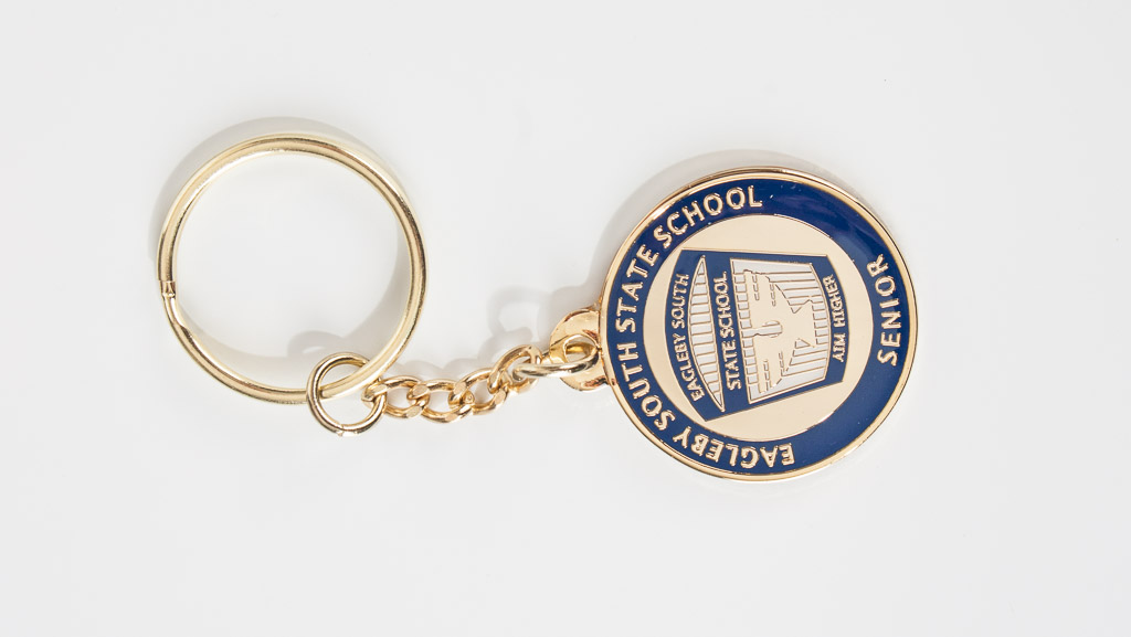Custom metal key tag for state schools.