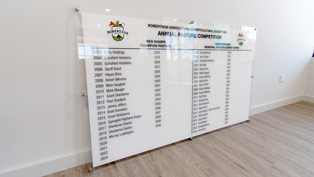 Modern honour board. White background with black text and full colour logos.