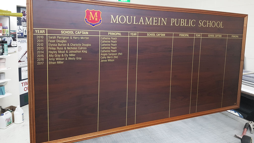 Custom wooden honour board.