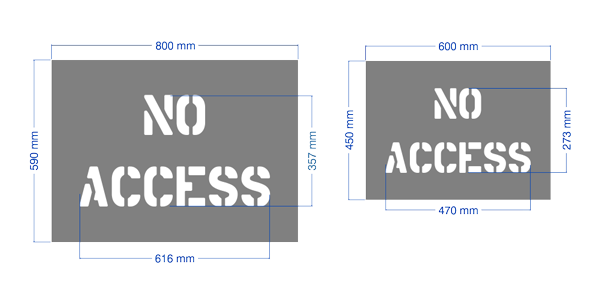 """No Access"" workplace safety stencils."