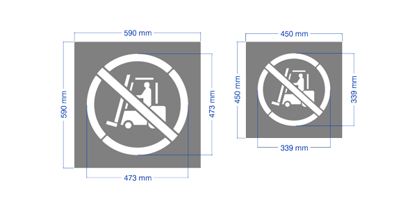 """No forklift allowed"" stencils in large and regular size. Laser cut here in Australia."