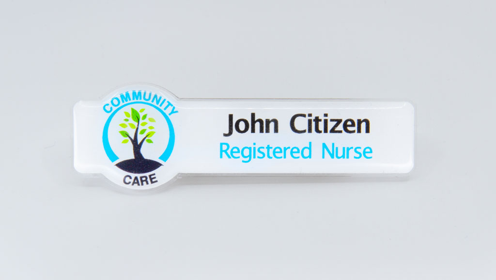 Nurse domed name tag.