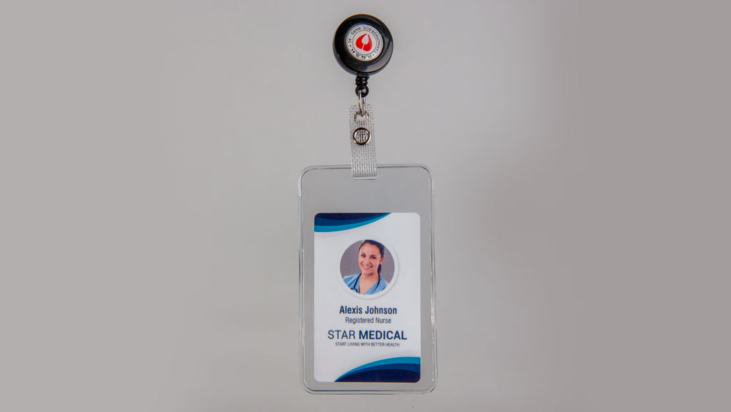 Branded extendable lanyard for a ID card.