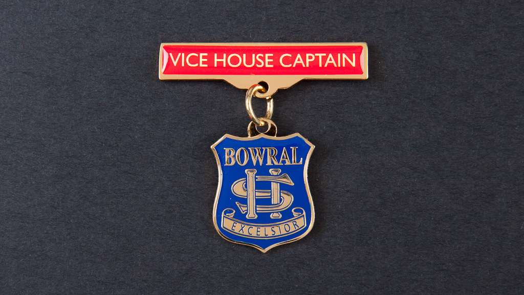 "Student badge, soft enamel, epoxy. It has the words, ""Vice House Captain"" on the bar above."