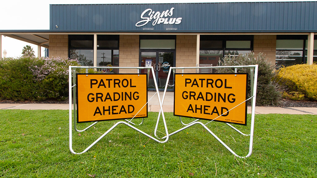 Patrol Grading Ahead safety sign swing stand