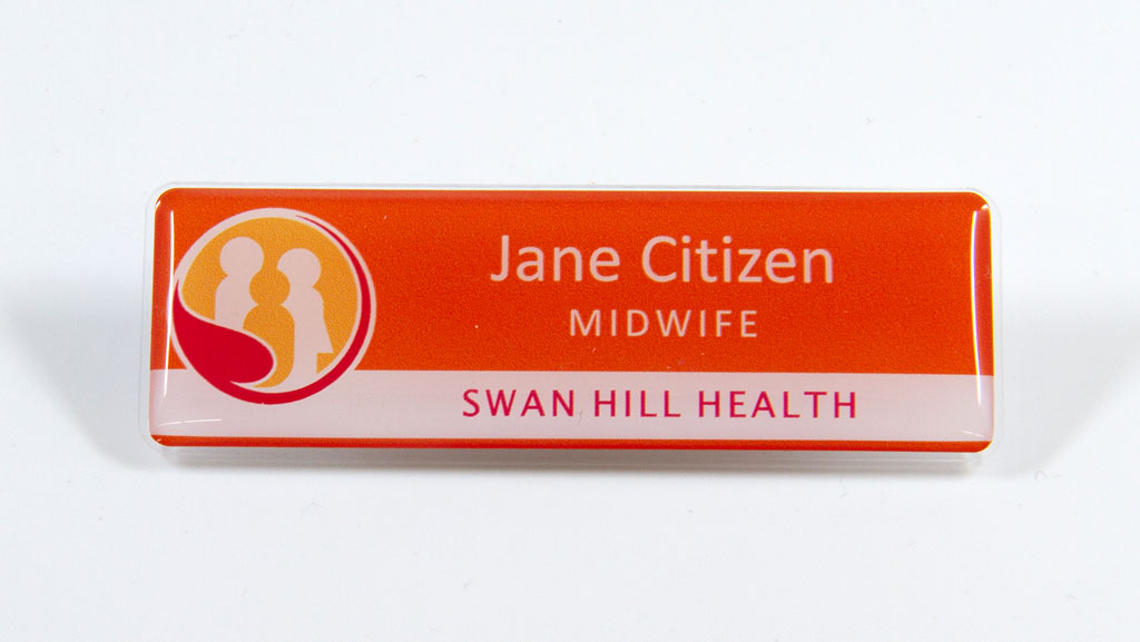 Midwife name badge.