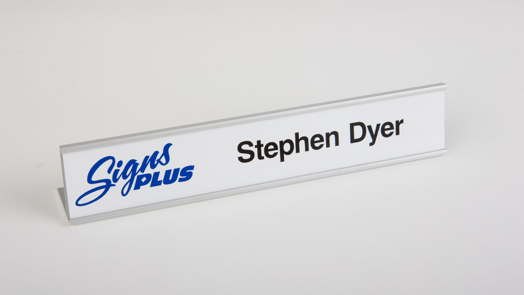 One personalised digitally printed standard desk plate.