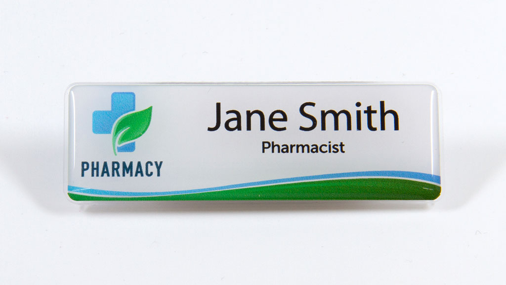 Personalised pharmacist name tag.