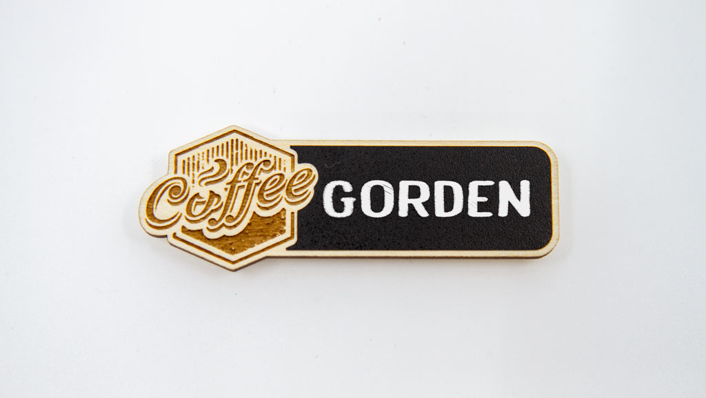 Blank reusable name tag for coffee shop.