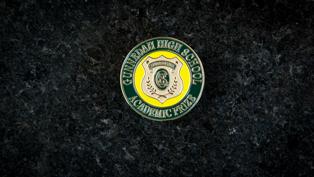 A round metal badge for a high school, in green and yellow/gold.