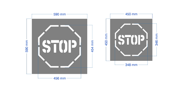 "Large and regular sized ""STOP"" stencils."
