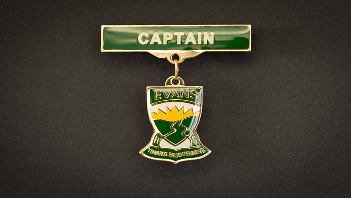 A custom made school captain badge