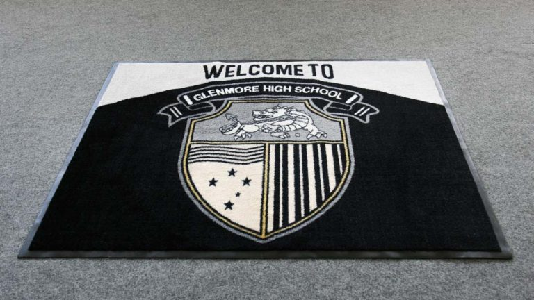 custom school logo floor mat