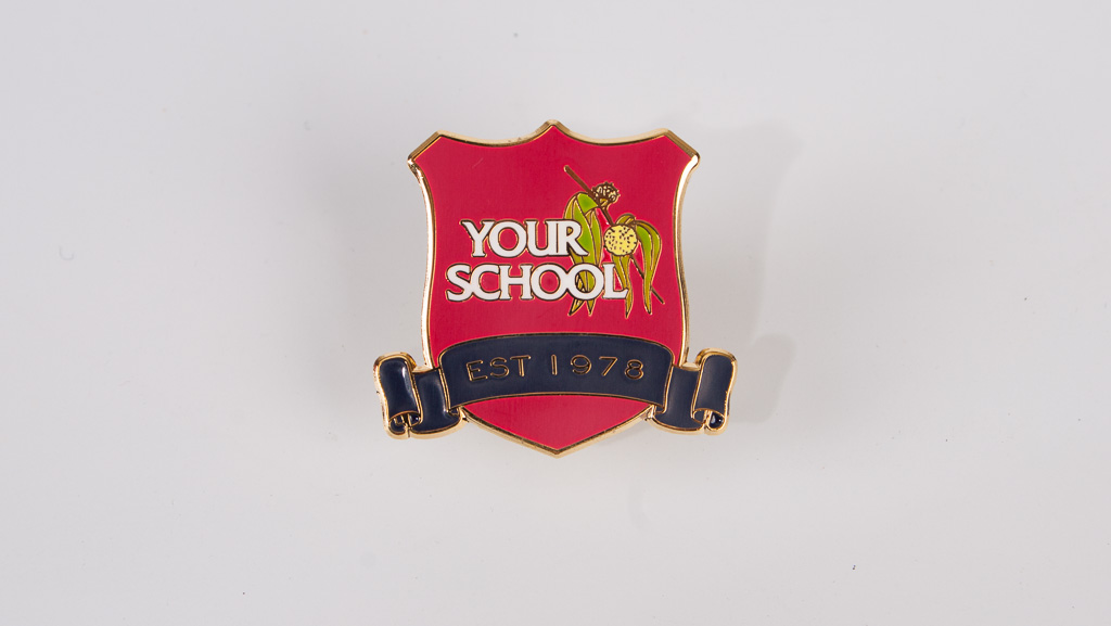 A soft enamel school metal badge.