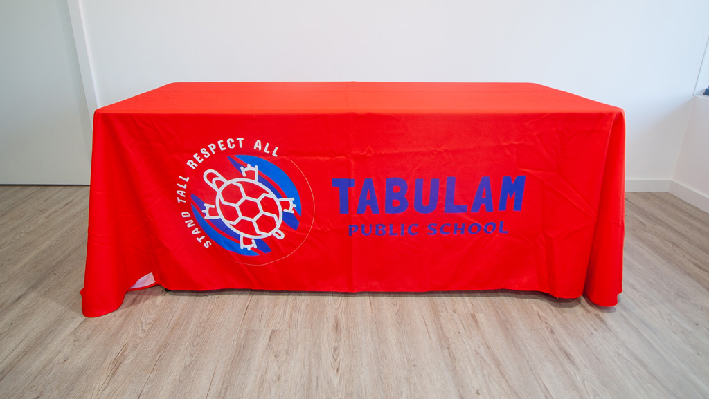 Custom made school table throw with logo.