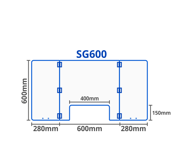 Sneeze guard or breath guard illustration drawing showing the dimensions of the SG600.