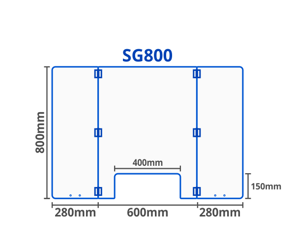 Sneeze guard or breath guard illustration drawing showing the dimensions of the SG800.