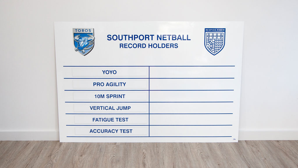 Custom made magnetic whiteboard for schools and sporting clubs.