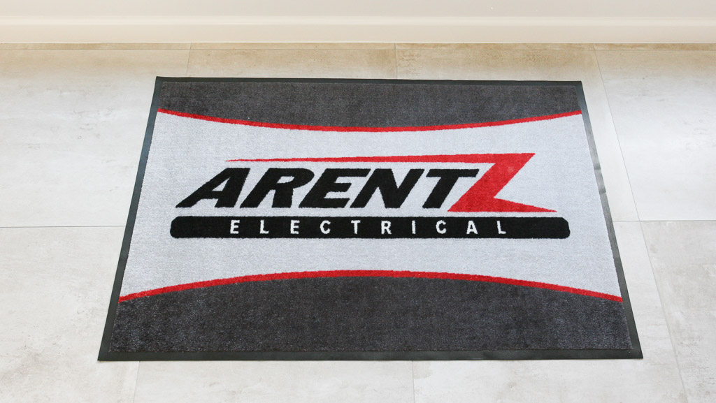 Custom made logo mat for Arentz Electrical.
