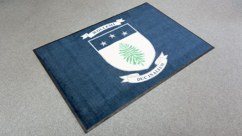 Custom made logo floor mat.