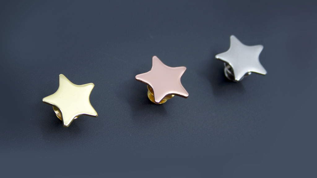 Star metal pins for students. Faux gold, silver and bronze.