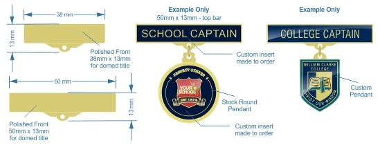 Student office bearer pendant badges