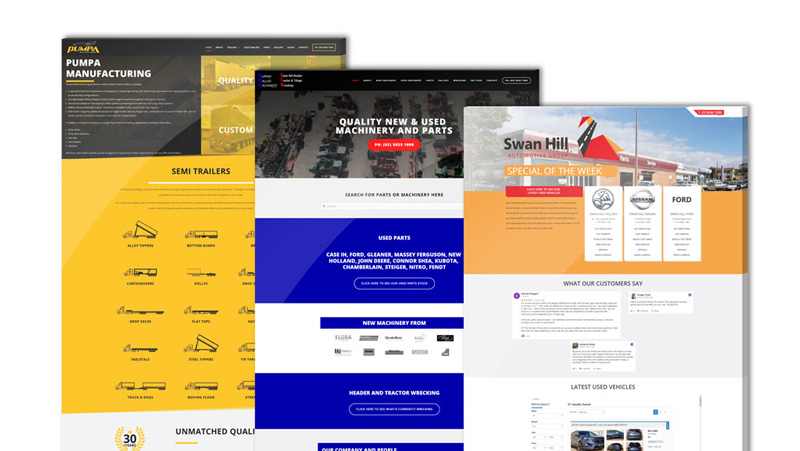 Website design and online marketing examples.