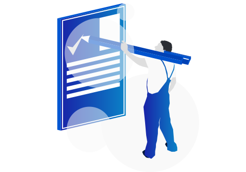 Isometric image, showing the process of  web design. He is blue, holding a pen and ticking of a contract.