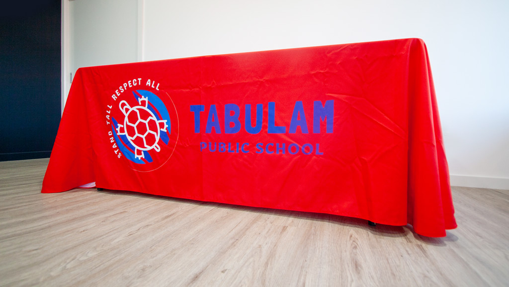 School branded table cover.