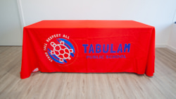 Custom branded table throw cover