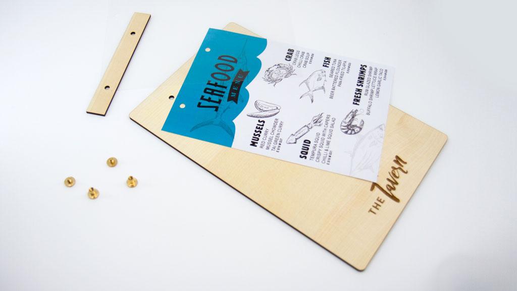 Custom manufactured in Australia timber menu.