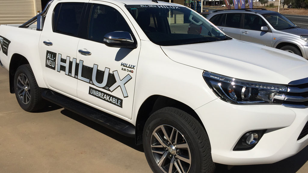"Literally ""Hilux"" vehicle graphics."