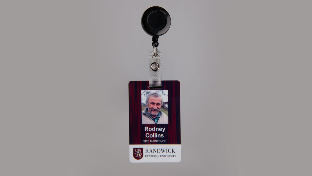A custom ID card with a retractable lanyard.