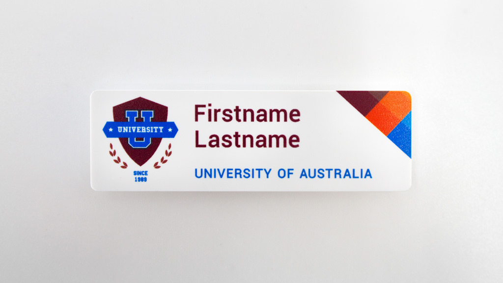 Custom name tag for university staff.