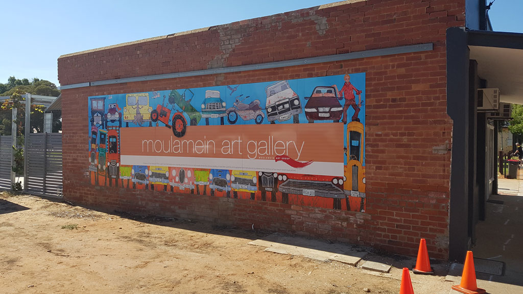Custom large mural for Moulamein Art Gallery.