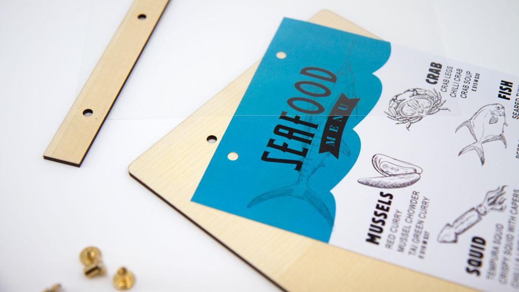 Custom wooden menu board with interchangable printed menu.