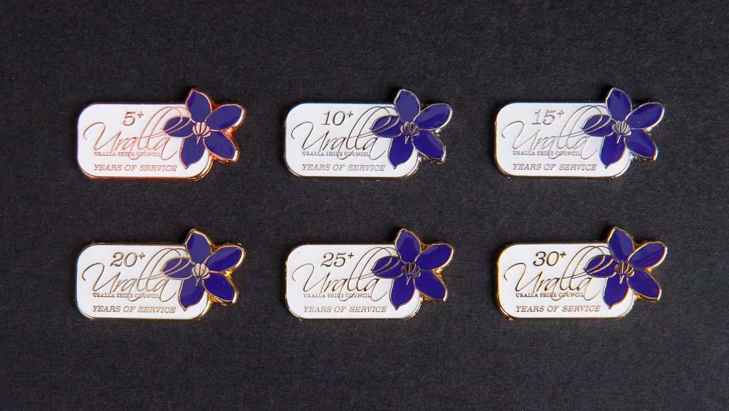 Year of service custom manufactured metal badges. Soft enamel, Epoxy.