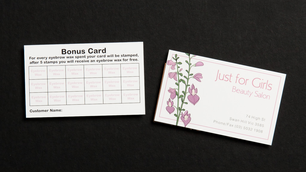 "Rewards card for beauty salon, ""Just for Girls""."