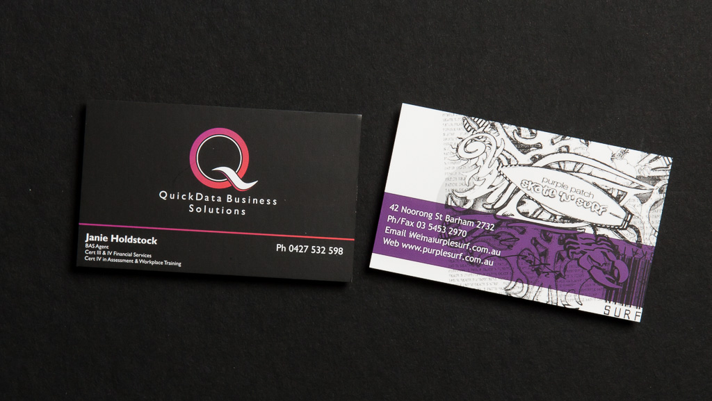 Custom printed business cards.