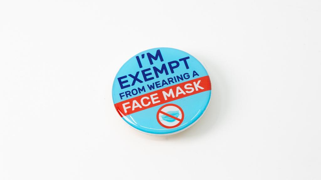 Covid-19 Safe Face Mask Wearing Exempt Coronavirus Pandemic Custom Badge 40mm