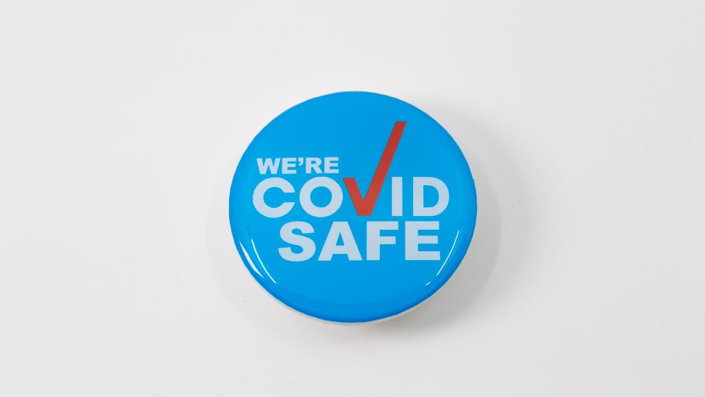 Covid-19 Safe Social Distance Blue With Red Tick Hand Coronavirus Pandemic Custom Badge 40mm