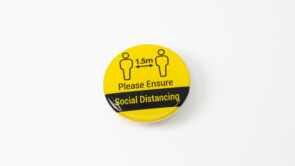 Covid-19 Safe Social Distance Yellow Coronavirus Pandemic Custom Badge 40mm