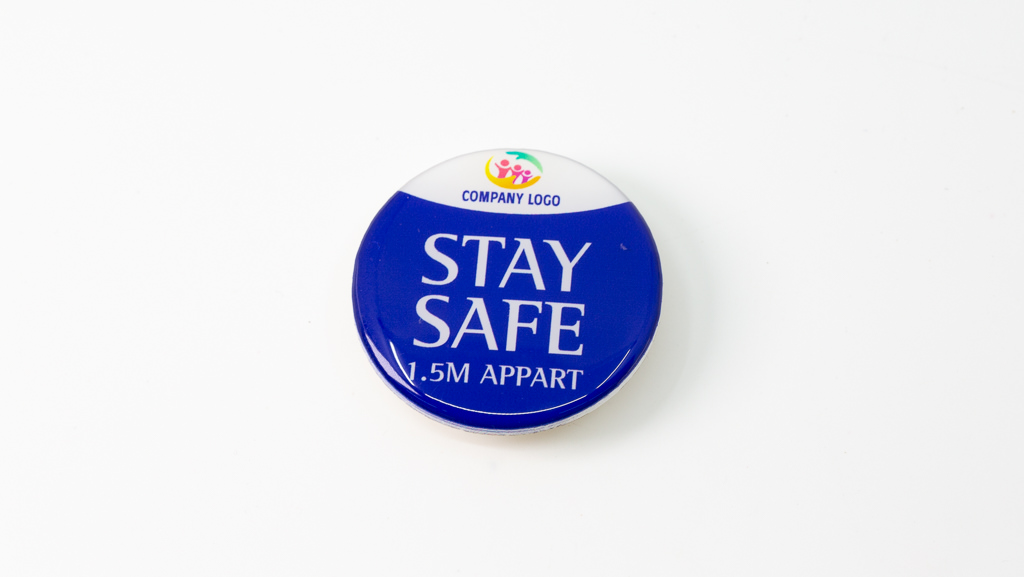 Covid-19 Safe Social Distance Blue With Logo Coronavirus Pandemic Custom Badge 40mm