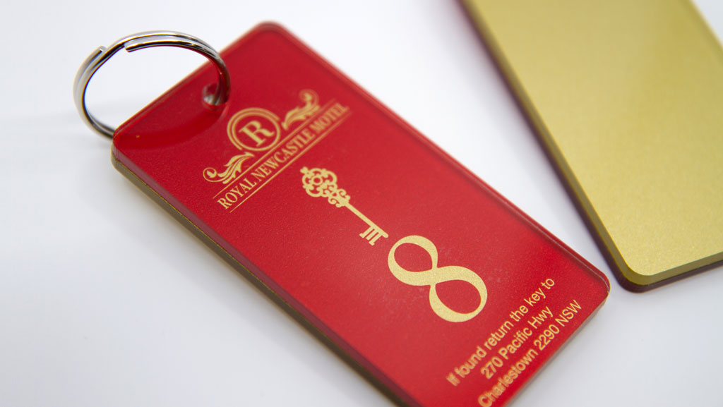 Large custom key tags with metallic gold