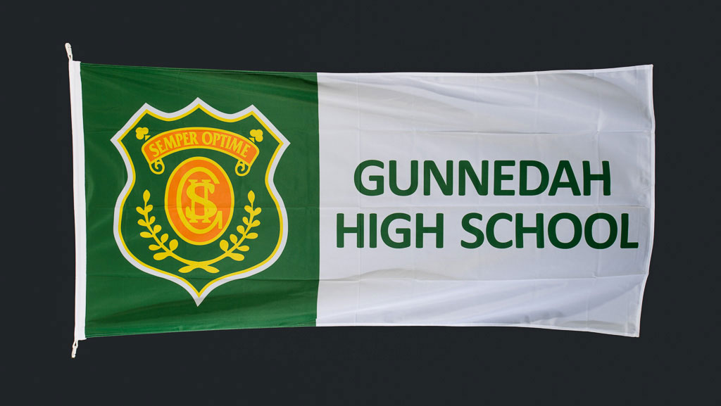 Custom manufactured flag that is mostly green and white for Gunnedah High School.