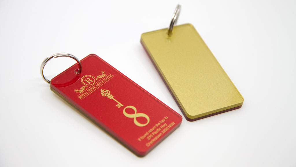 Custom made oversized key tags.