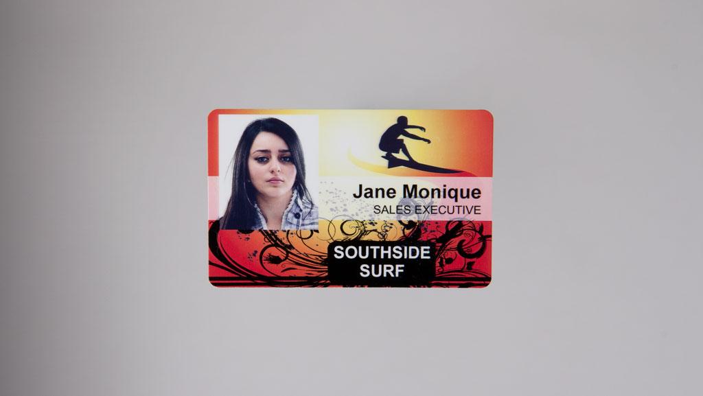 Custom photo ID card in landscape.