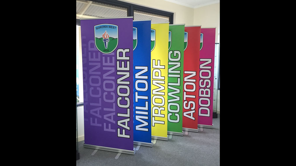 Matching colour set of pull up banners.