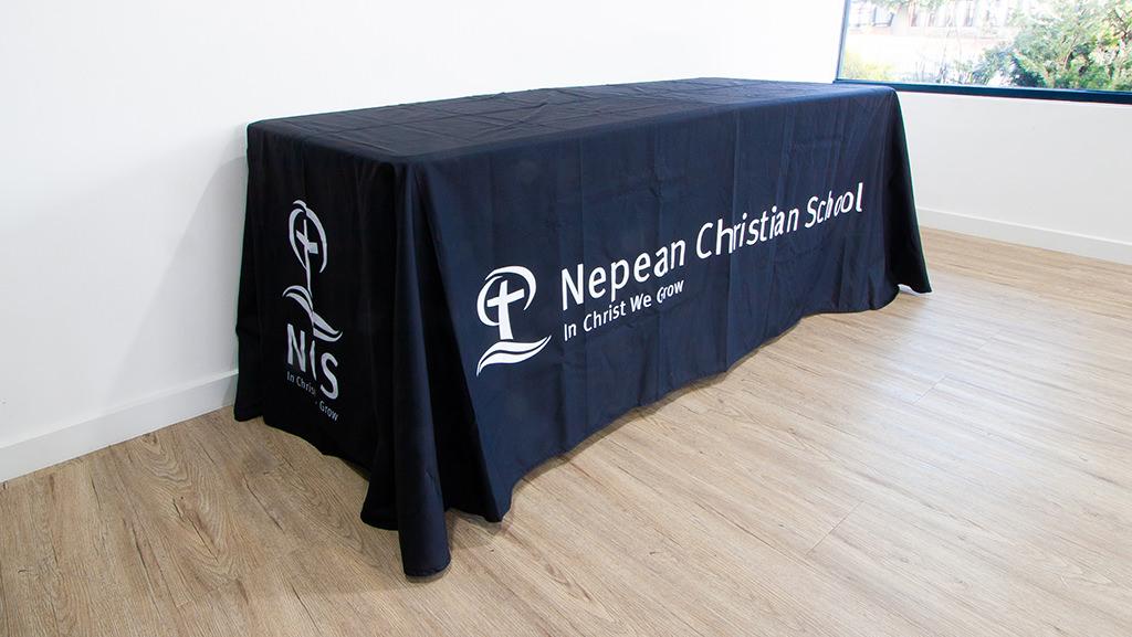 custom school table throw black