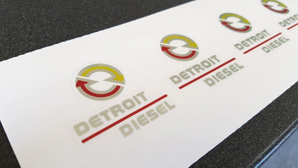 Custom shaped and cut stickers for Detroit Diesel